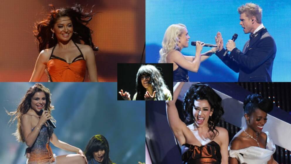 Favorittippade i Eurovision Song Contest 2012: Rumäniens Mandinga, Greta Salome och Jonsi från Island, Eleftheria Eleftheriou från Grekland och Italiens Nina Zilli, med svenska Loreen i mitten.