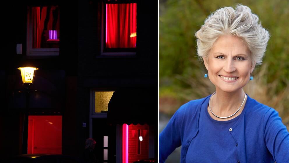 Till vänster bordellfönster i Amsterdams red light district. Till höger EU-parlamentariker Anna Maria Corazza Bildt.