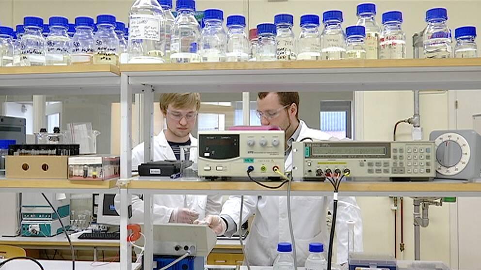 Felix Rydell och Victor Andoralov står i laboratoriet.