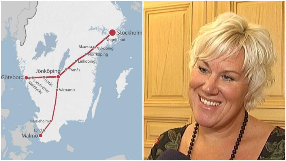 Ostlänkens dragning och Kristina Edlund (S) kommunalråd Linköping