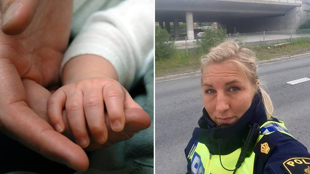 Polisen linda och en bebishand.