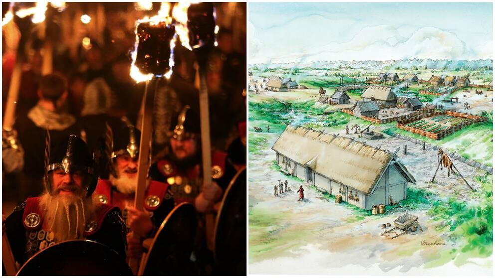Vikingatåg och vikingabyn i Norrköping som man tror att den såg ut
