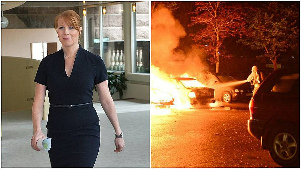 Annie Lööf (C) och räddningstjänsten släcker en bilbrand i Norrköping