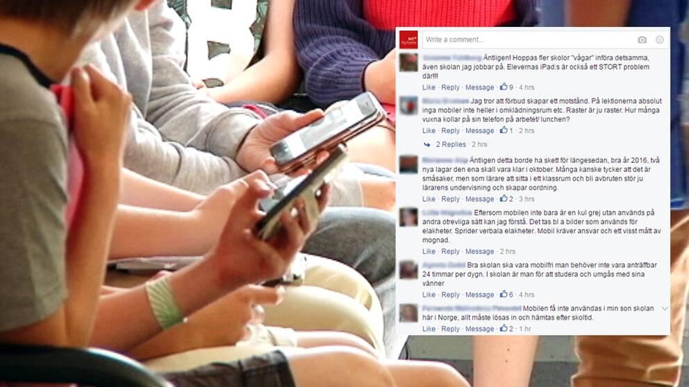 Elever använder mobiler i skolan.