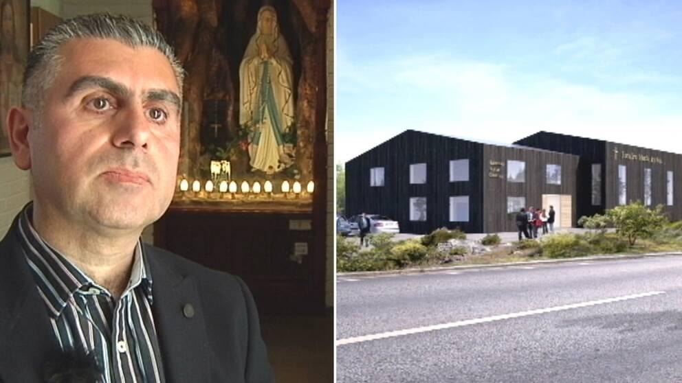Martin Elia och skiss på planerad kaldeisk kyrka.
