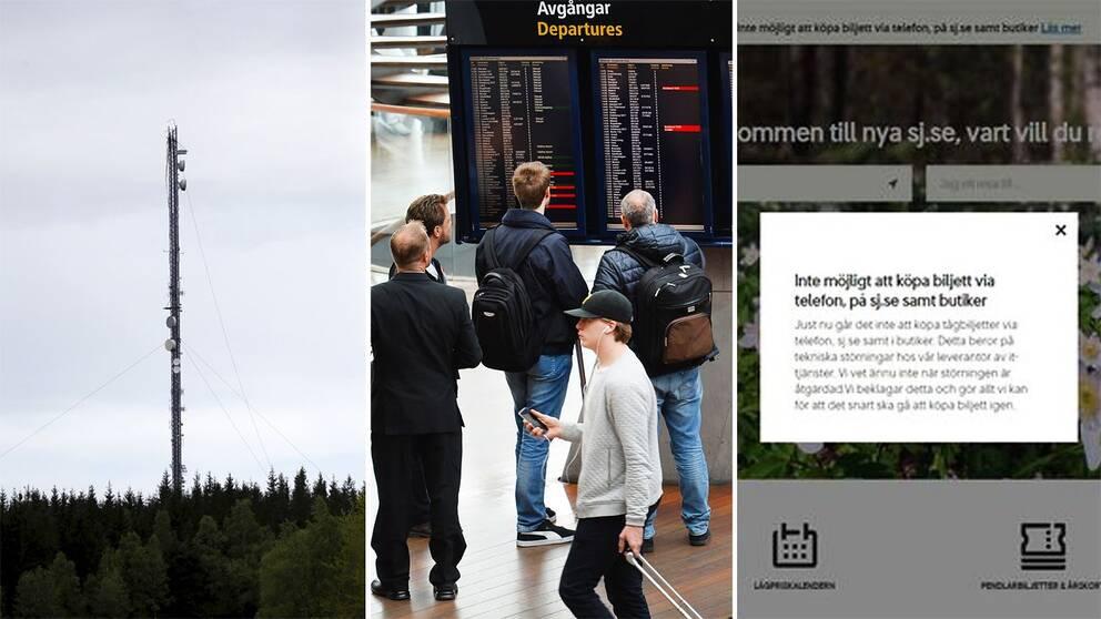 Kraschade masten utanför Borås, förseningar på Arlanda och skärmdump från SJ.