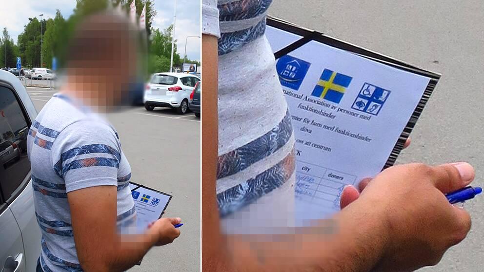 Person står på parkering med lista för att samla in pengar till funktionshindrade.