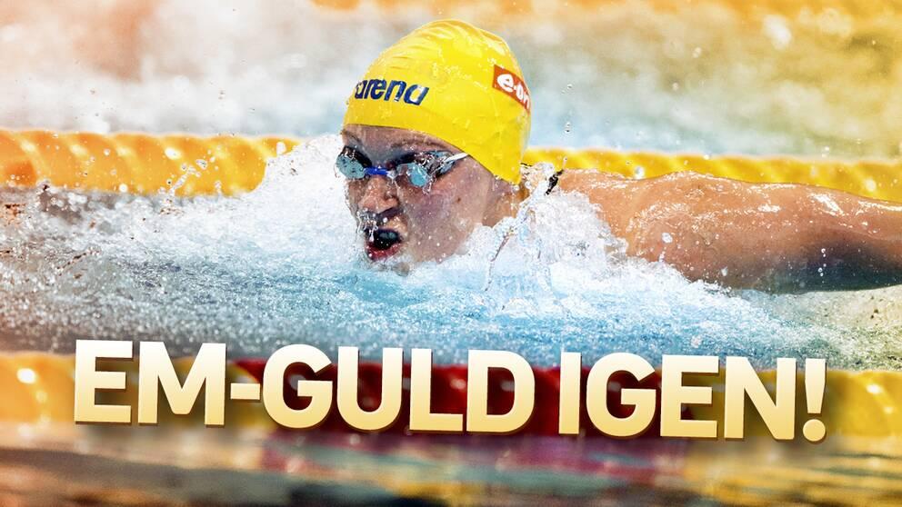 Sjostrom simmar for guld pa 50 meter fjaril