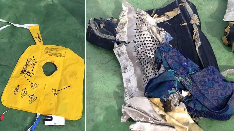 Bilder på vrakdelarna från Egyptair-planet har publicerats på egyptiska militärens Facebook-sida.