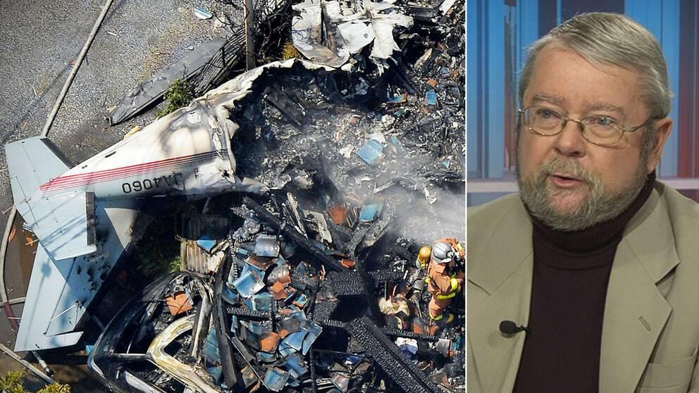 """""""Rent statistiskt måste du flyga 29.000 varv runt jorden för att ens komma i närheten av en incident"""", säger flygexpert Christer Åström. Här bild på en flygkrasch i en Tokyo-förort 2015."""