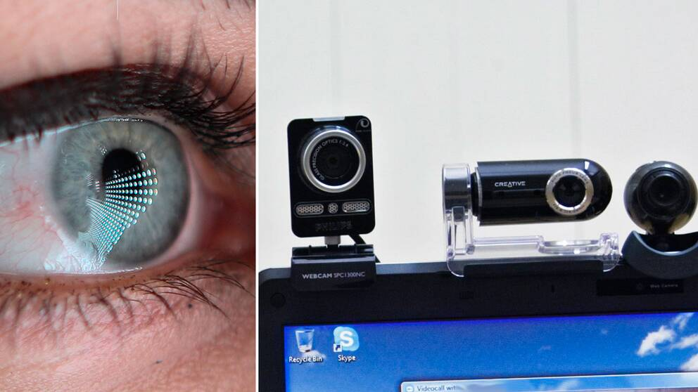 Ett öga som reflekterar en skärm, samt olika webbkameror.