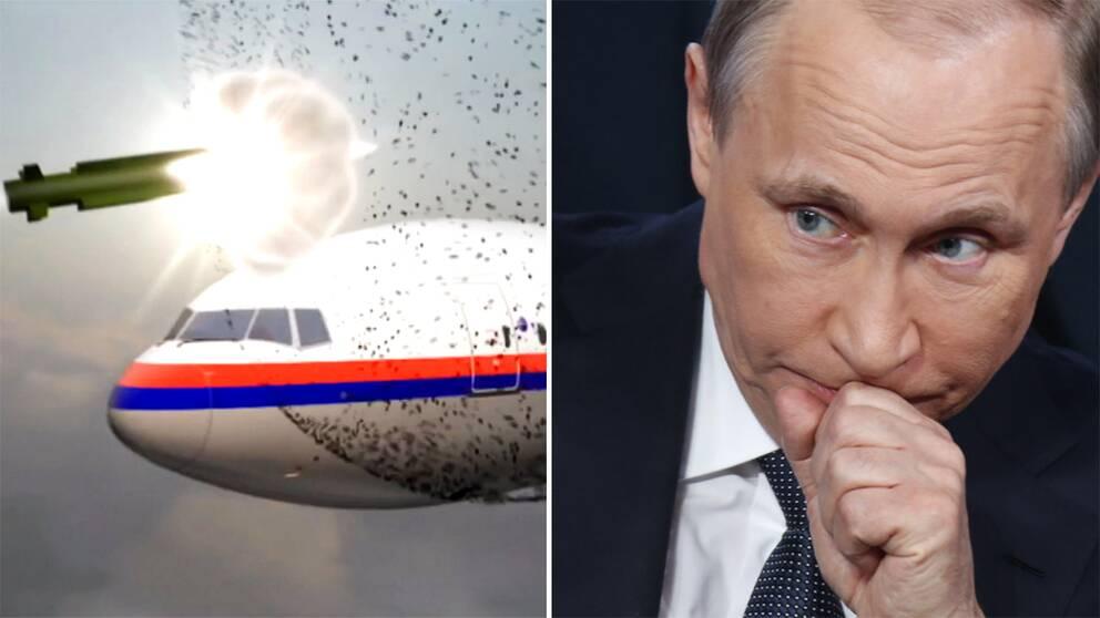 Stillbild ur rekonstruktionsvideo som visar hur MH17 blev nerskjutet. Rysslands president Vladimir Putin.