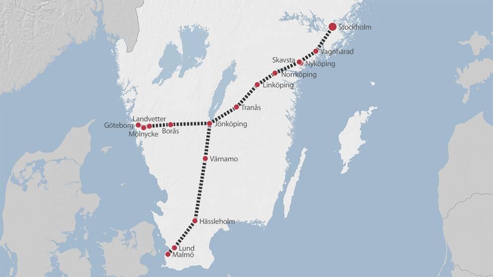 Karta som visar det nya snabbtågets sträckning.
