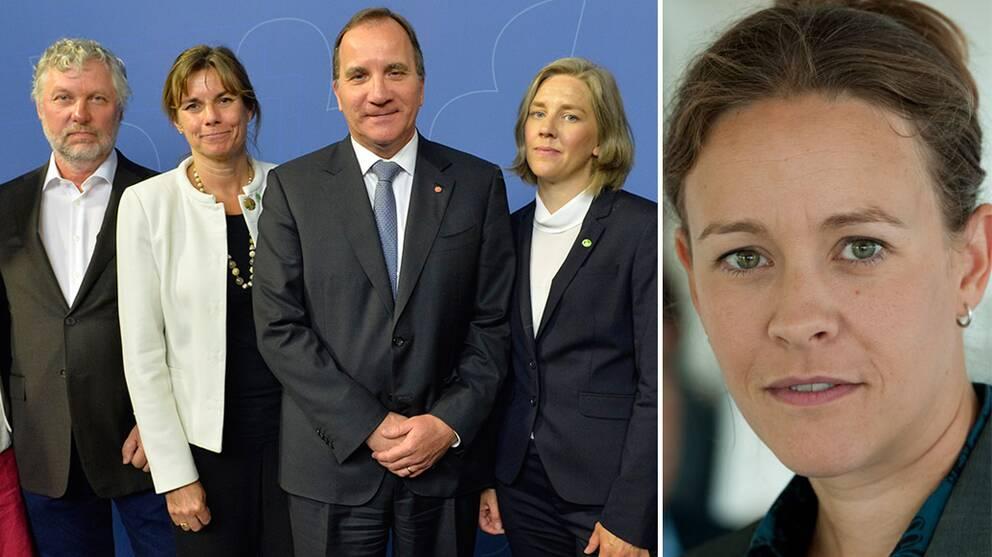 Löfven ombildar regeringen. Från vänster Peter Eriksson (MP) bostad och IT, Isabella Lövin (MP) bistånd och klimat, Stefan Löfven (S) statsminister, Karolina Skog (MP) miljöminister. Till höger tidigare språkröret Maria Wetterstrand (MP).