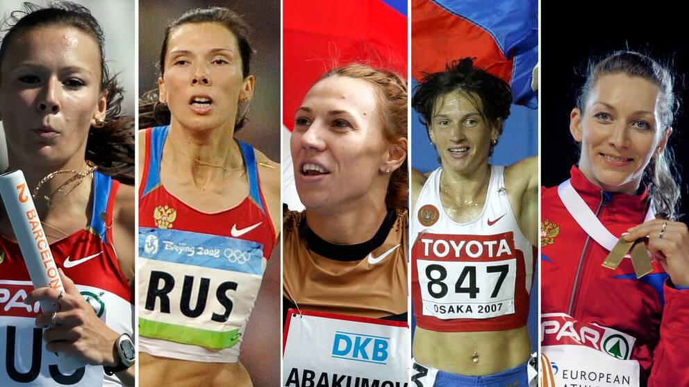 Julia Tjermosjanskaja, guld på 4x100 meter, Anastasia Kapatjinskaja, silver på 4x400 meter, Maria Abakumova, silver i spjut, Jekaterina Volkova, brons på 3000 meter hinder och Tatiana Firova, silver på 4x400 meter.