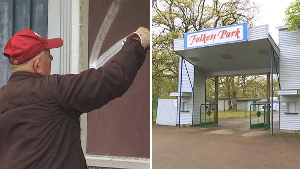 En äldre man tar bort klotter, och entrén till Folkets Park i Åseda.