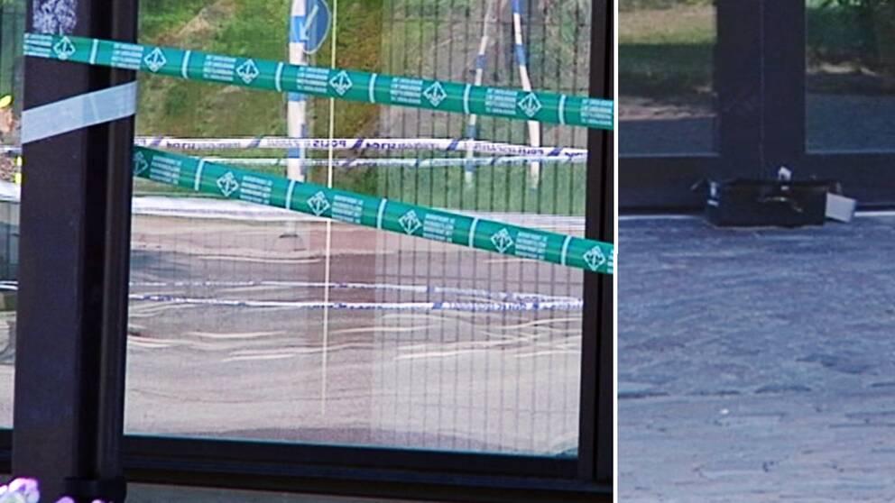 Nordfronts banderoll hittades vid lådan utanför stadshuset i Ronneby.