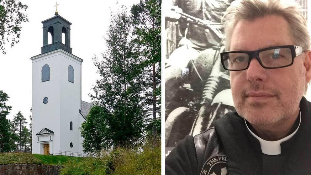 MC-prästen Mikael Bedrup håller mc-gudstjänst i Nathanaelskyrkan i Tierp på söndag.