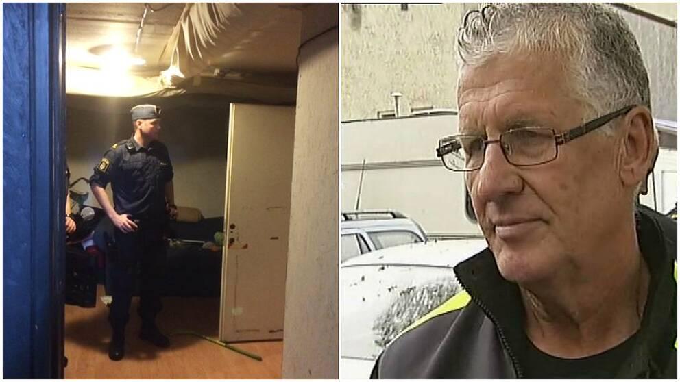 Polisman i en av boendena som dömts ut och Thomas Gruber, fastighetsägare i Motala.