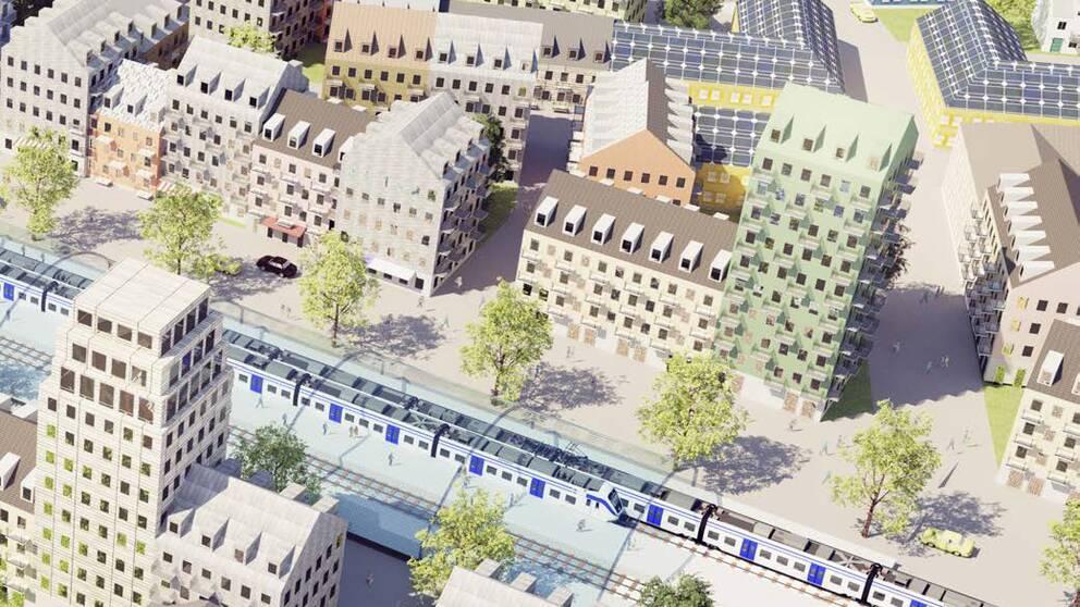 Illustratrion över möjliga bostäder längs sträckan Stockholm-Uppsala.