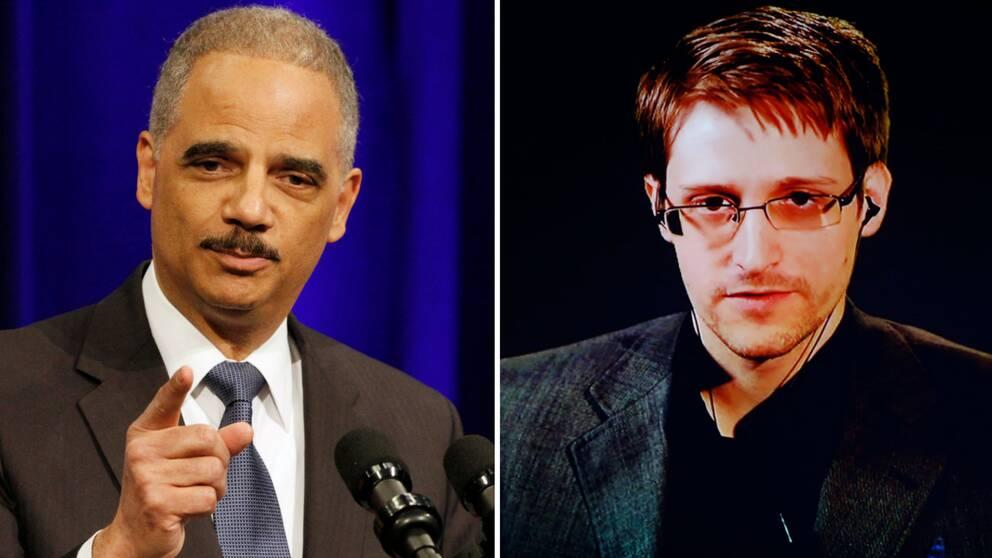 före detta amerikanske justitieministern Eric Holder och visselblåsaren Edward Snowden.