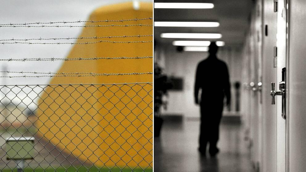 Kumlaanstalten utifrån och en man i en fängelsekorridor