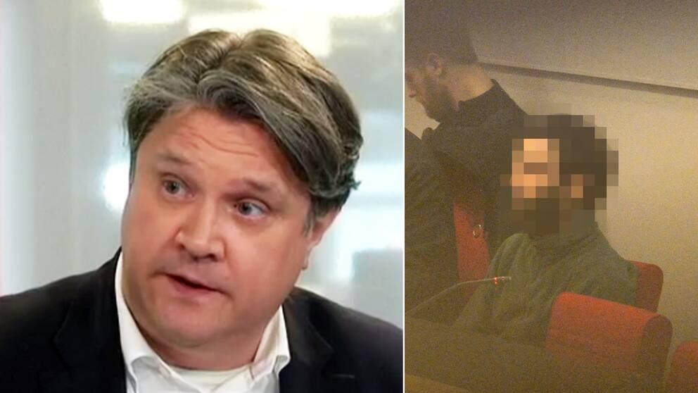 Hans Brun och en pixlad bild på den terrordömde.