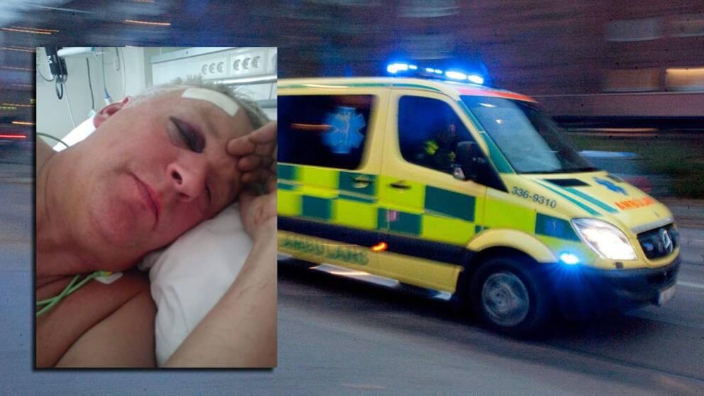 Kvinna hann do i vantan pa ambulans
