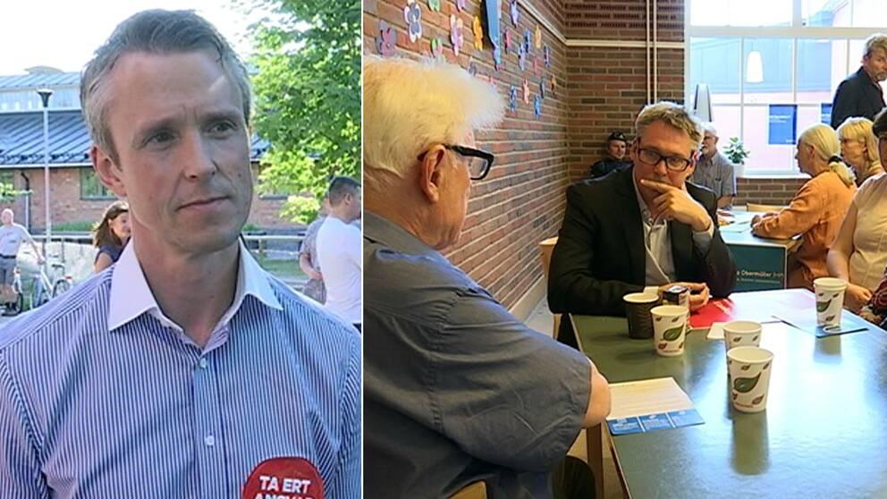 Thomas Lindström och stadsbyggnadsborgarrådet Roger Mogert (S)