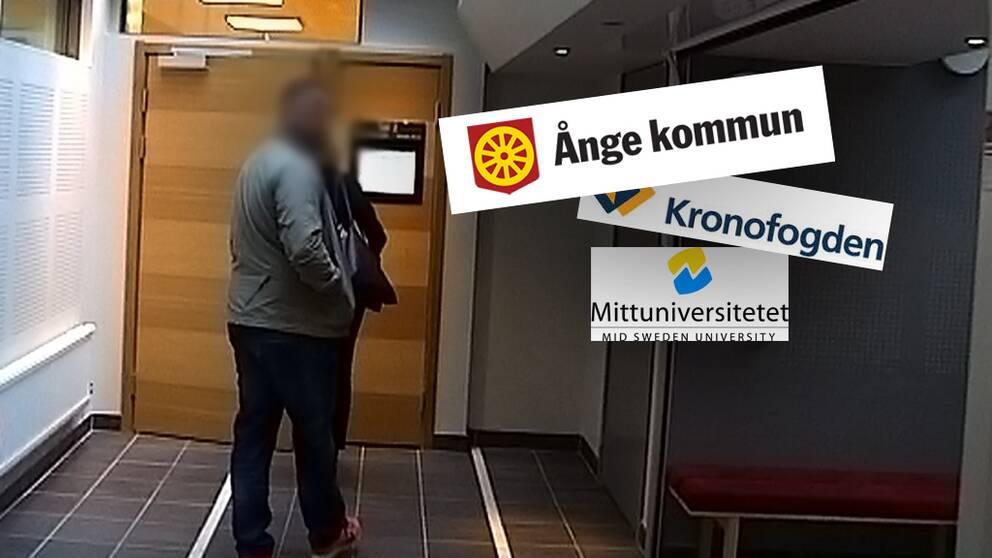 anonymiserad bild på mannen, logos för Ånge kommun, Kronofogden och Mittuniversitetet