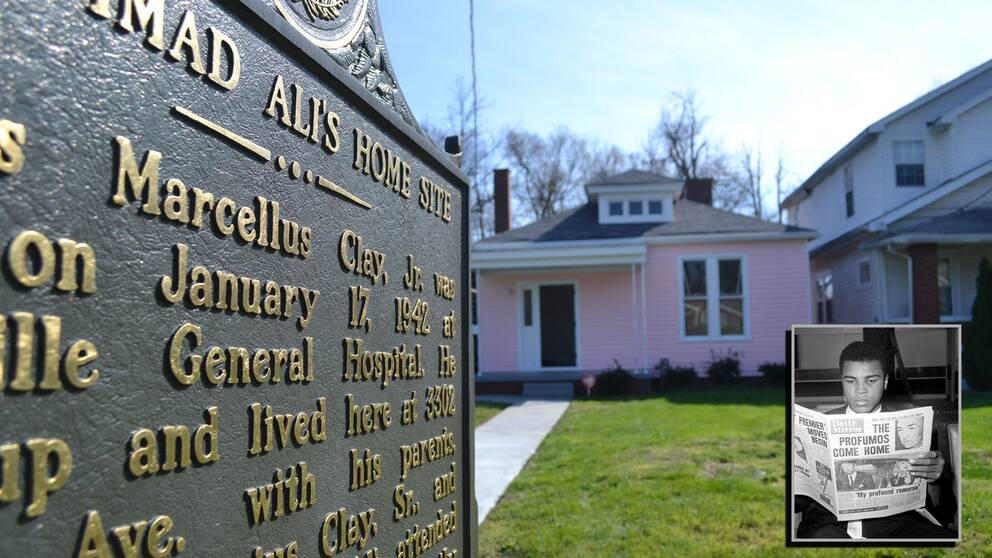 """Muhammad Ali, infälld bild, och i bakgrunden hemmet i Louisville som """"The Champ"""" växte upp i."""