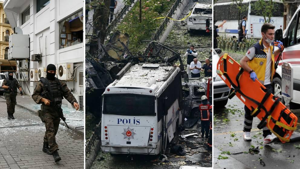bilder från platsen där bombattacken skedde, poliser, räddningspersonal och de skadade bilarna syns