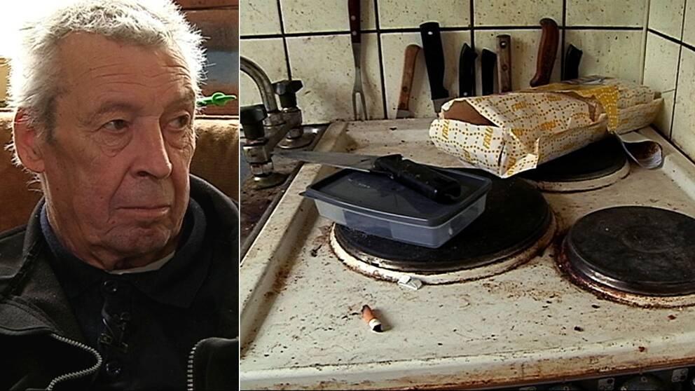 Kent och spisen i hans hem.
