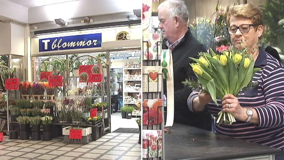 Blomsterhandeln T blommor och ägaren Ulla Svensson.