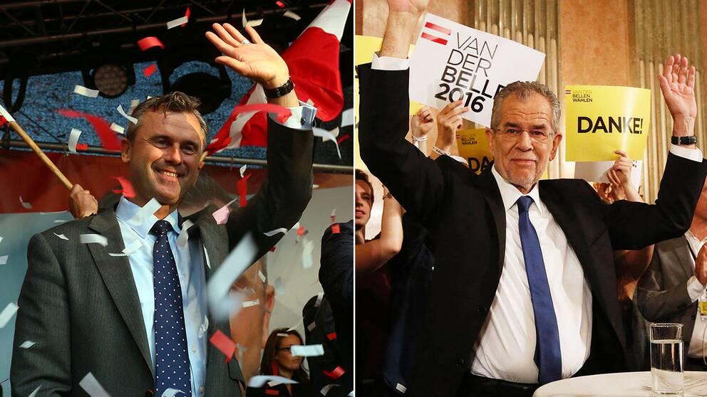 Alexander Van der Bellen, till höger i bild, vann presidentvalet Men nu överklagar högerpopulistiska partiet FPÖ resultatet. Till vänster i bild FPÖ:s kandidat.
