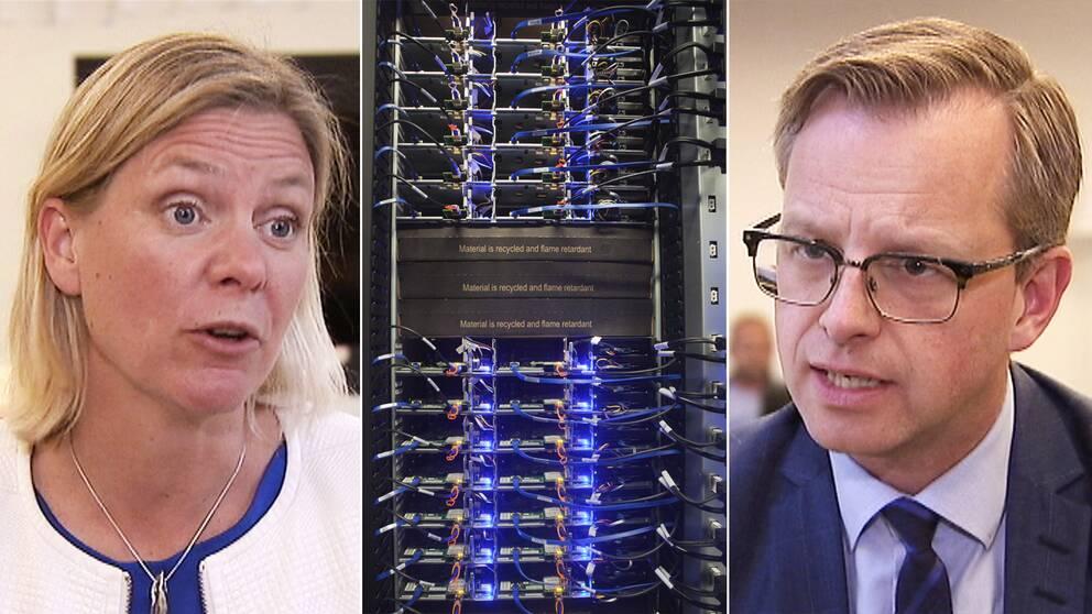 Finansminister Magdalena Andersson (S) och näringsminister Mikael Damberg (S) hoppas båda att regeringens förslag om sänkt elskatt för dataindustrin ska generera fler nya jobb.