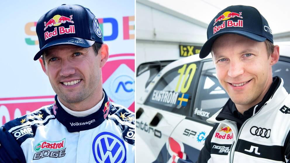 Motorgiganterna Sebastien Ogier (t.v.) och Mattias Ekström (t.h.)