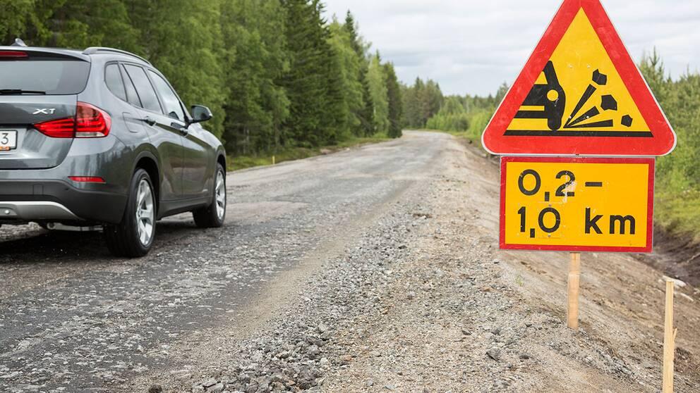 Dålig väg i Västerbotten.