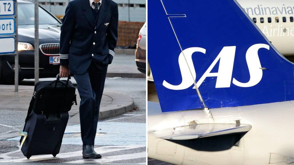 pilot och SAS-flygplan