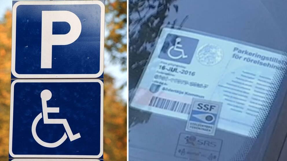 En handikapparkeringsskylt och ett parketingstillstånd för rörelsehindrade.