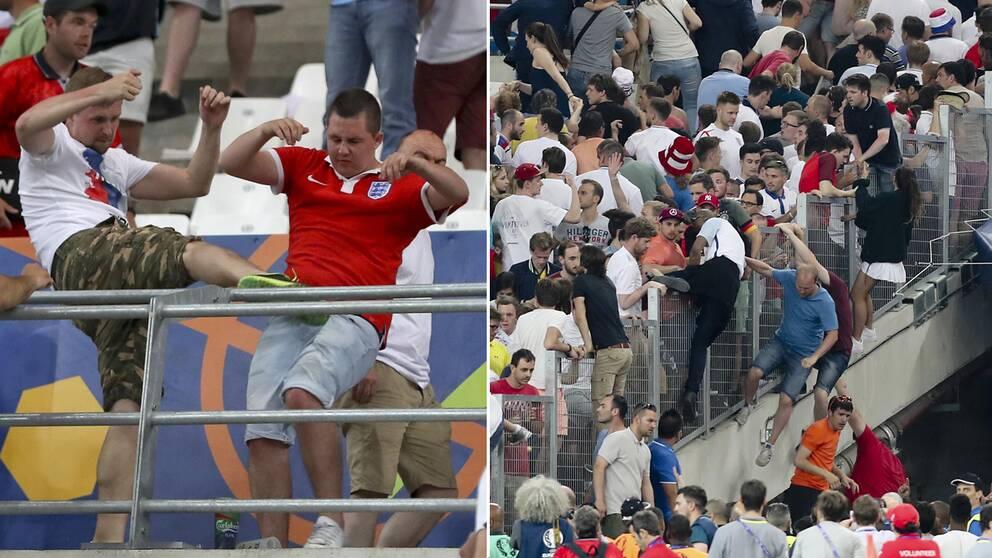 En engelsk supporter blir sparkad av en rysk supporter.