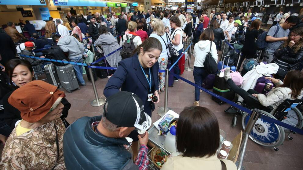 Timslånga köer till SAS biljettluckor på Arlanda under lördagen. Hittills har 50000 resenärer drabbats av SAS-piloternas strejk.