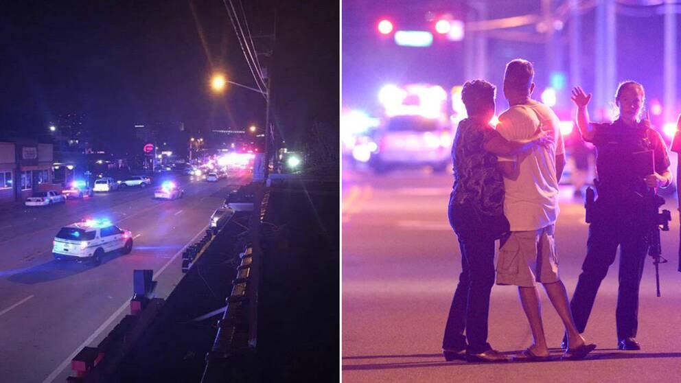 Polisen i Orlando pratar med anhöriga till besökarna till klubben, där en man öppnade eld.
