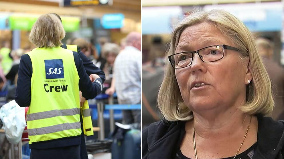 Resenären Anne Backström kom till Arlanda fem i morse och stod i timmar i kö utan att få besked om hur hon ska ta sig vidare till sonen i USA.