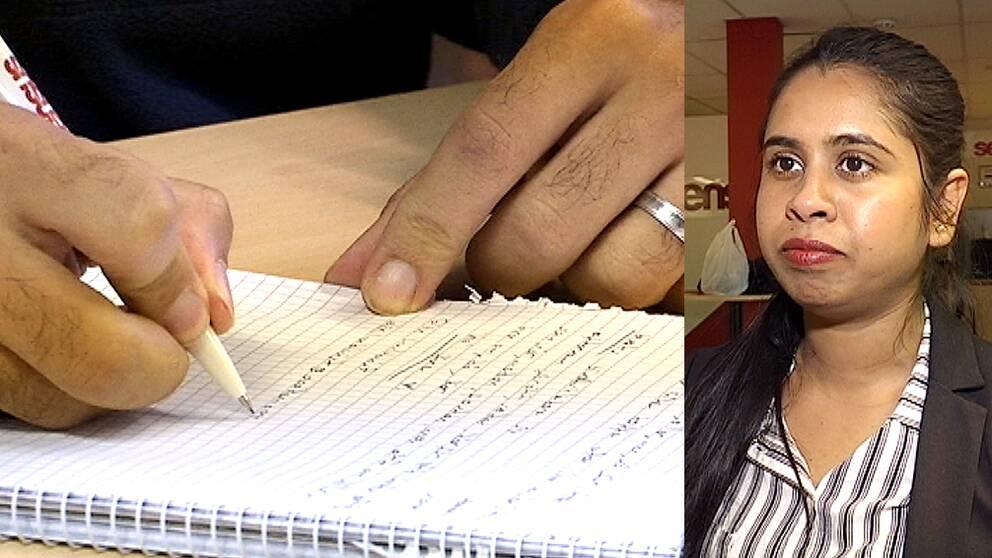 En hand som skriver på ett papper. Sharmin från Bangladesh
