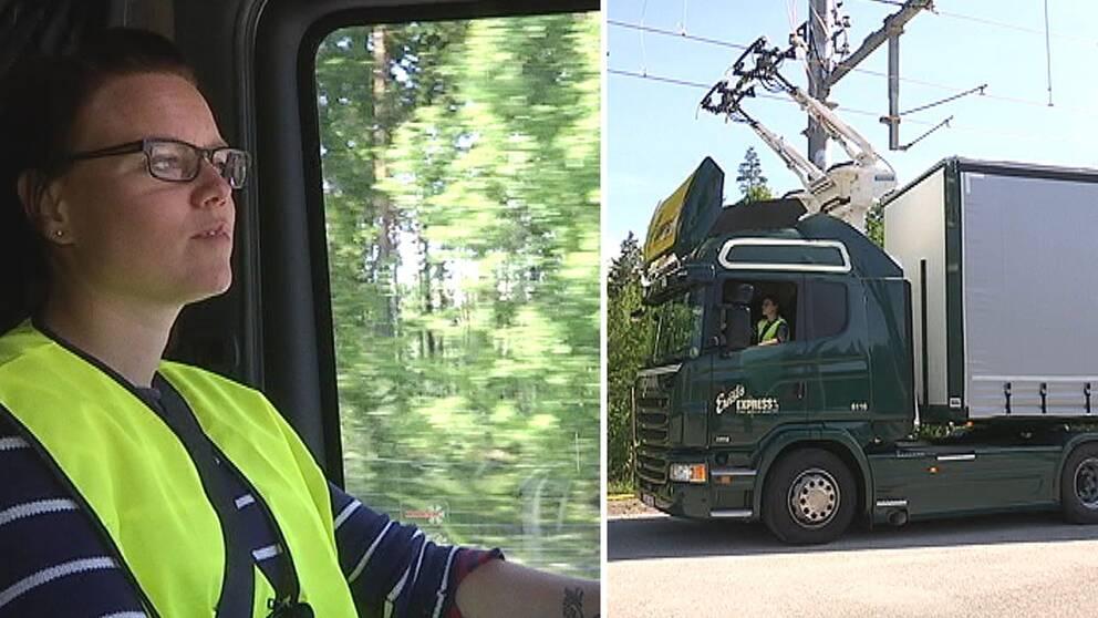 SVT följer med i en av lastbilarna på den nya elvägen.