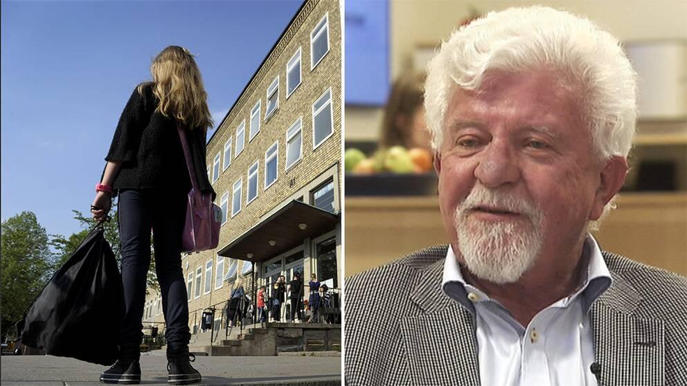 En skolgård samt skolkoncernen Academedias storägare Rune Andersson.