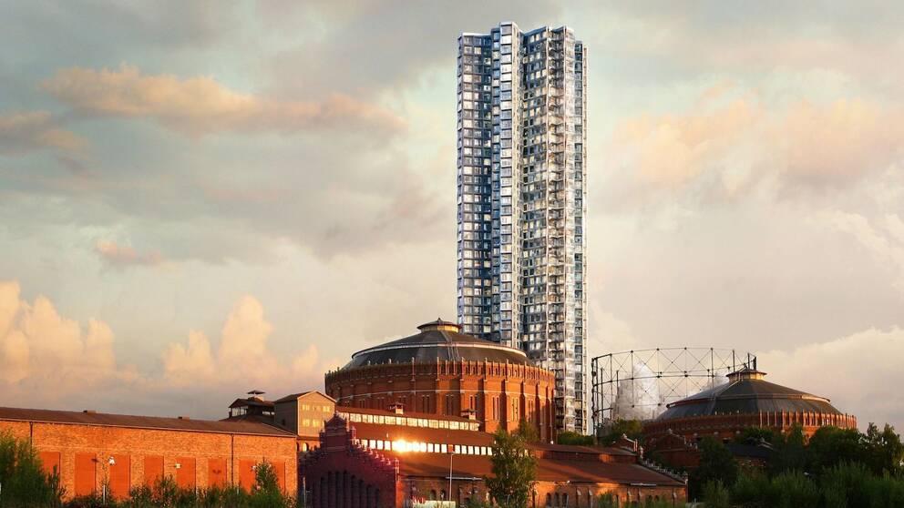 Den tänkta 140-metersbyggnaden i kvällsljus.