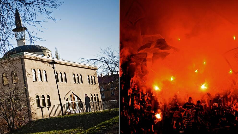 Stockholms moské samt fotbollssupportrar.