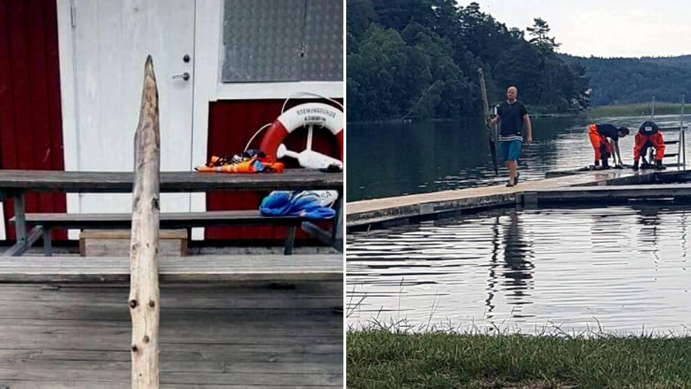 En träpåle hittades i en sjö norr om Stenungsund.